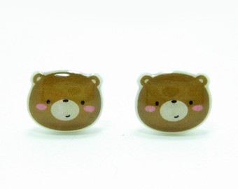 Small Bear Earrings | Sterling Silver Posts Studs | Gifts For Her