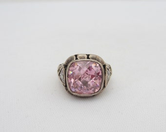 Vintage Sterling Silver Faceted Pink & White Topaz Ring Size 5