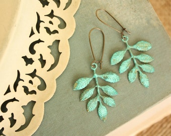 Turquoise Green  Patina Leaf Earrings