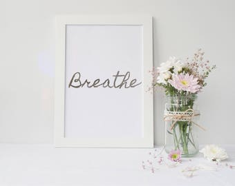 Framed Silver Foil Breathe Framed Wall Art Print | Home Decor | Yoga & Pilates Gift | FREE UK SHIPPING |