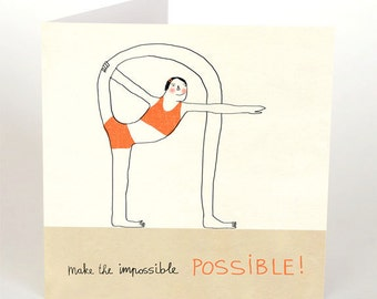 Yoga postcard etsy yoga postcard make it possible yoga greeting card whymsical yoga posture yoga illustration positive quote inspiration meditation m4hsunfo