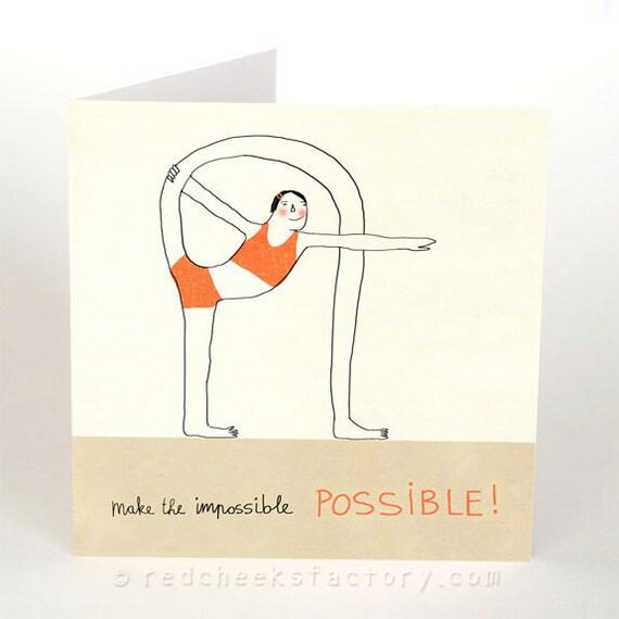 Yoga postcard make it possible yoga greeting card m4hsunfo
