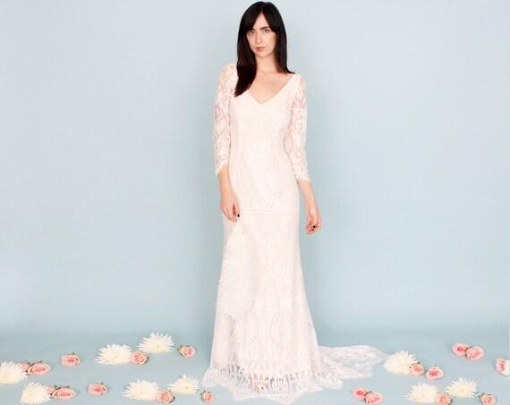 Wedding dress sale size 8 6 boho gypsy hippie fantasy lace