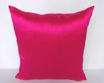 Hot Pink art silk cushion. Fuschia pink decorative pillow cover and throw pillow. Neon pink. Shocking pink. On discount. 22 inch ON SALE