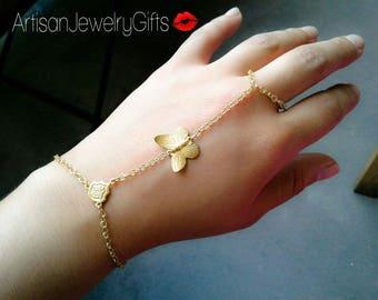Slave Bracelet Gold Butterfly Hand Chain Boho Slave Bracelet Gold Slave Bracelet Mother's Day Gift For Her Butterfly Slave Bracelet