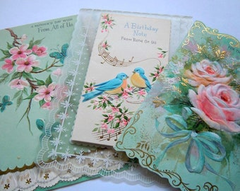 Vintage Die Cut Pink and Turquoise Frilly Floral Greeting Cards Lot
