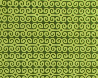 hand printed cotton fabric - lime green geometric print fabric - 1 yard - ctjp109