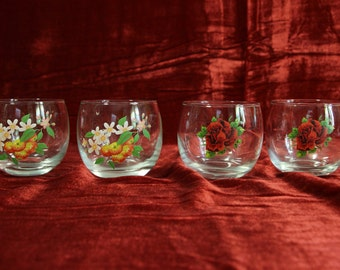 Set of 3 Beautiful Flower small Roly Poly's Glassware