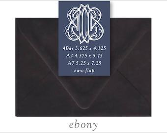 Ebony | 10 Blank Euro Envelopes | A7 • A2 • RSVP