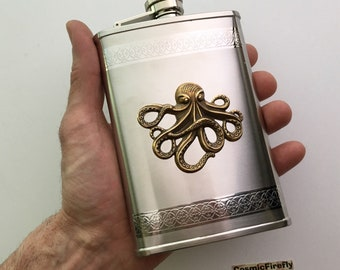 Big Octopus Flask Nautical Steampunk Style Stainless Steel With Raised Antiqued Brass Octopus Gothic Victorian Design Mixed Metals Holds 8oz