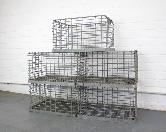 Galvanised Steel Factory Crates Circa 1950s