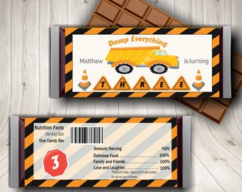 Dump Truck, Construction, Truck, Birthday Party, Candy Bar Wrapper, For Kids, Custom, Cute Under Construction,
