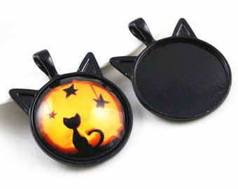 1 medium black cat pendant 25 mm to 25 mm cabochon