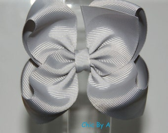 """Grey 4"""" Boutique Bow,Lovely Stacked,Baby,Girl,Ponytail Bow,Hair Clips,Elegant Hair Bow,Baby, Kids,Toddler,Grosgrain Ribbon,Hair Bow"""