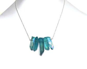 Blue Quartz Necklace, Quartz Bar Necklace, Rough Quartz Necklace, Quartz Point Necklace, Blue Crystal Necklace, Sterling Silver Necklace