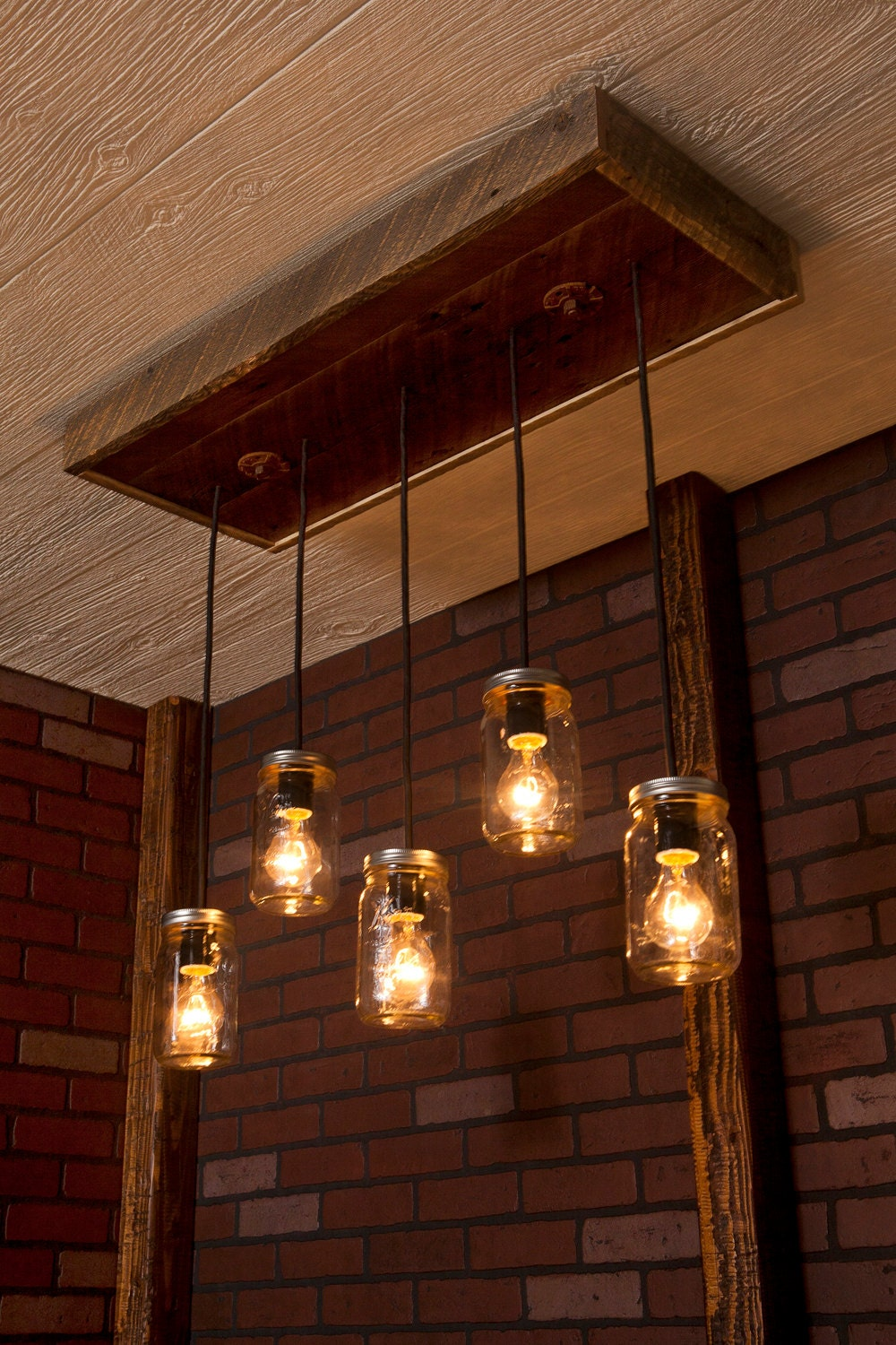 Mason jar lights with reclaimed wood and 5 pendants zoom aloadofball
