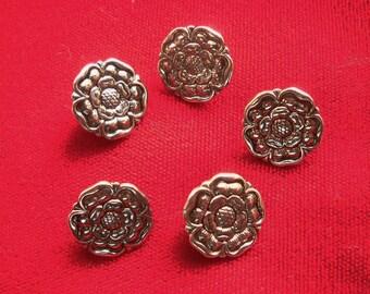 5 Silver Tone Metal Shank Tudor Rose Buttons Renaissance Medieval