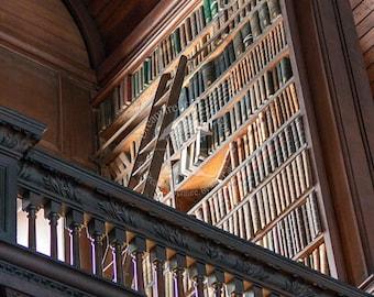 Library art print | book lovers | book worm | library ladder | irish decor | dublin ireland print | irish photography | wood ladder print