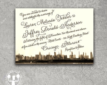 Vintage Chicago Invitation Save the Date