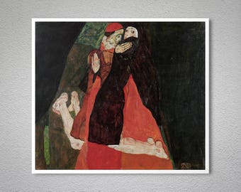Cardinal and Nun (Caress) by Egon Schiele - Poster Paper, Sticker or Canvas Print / Gift Idea
