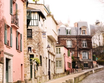 Paris Photography - Street in Montmartre, France Travel Photograph, French Home Decor, Large Wall Art