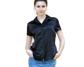Black satin Blouse, Short Sleeves, Teal Secretary Blouse, smooth fiber, classic clothing, Womens silk blouse