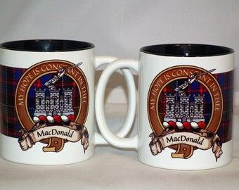 Scottish Tartan Crest Clan Macdonald Coffee Mug Set of 2 Mugs
