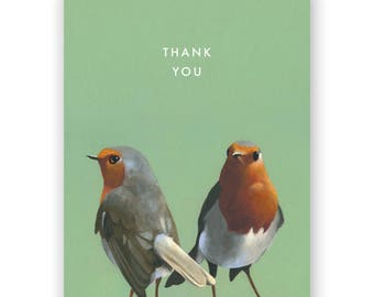 European Robin Thank You Card - Birds - Greeting - Stationery