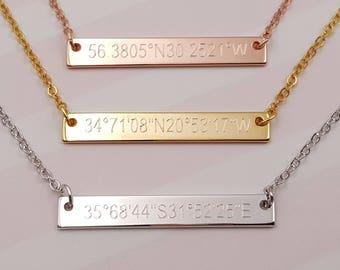 Tiny Personalized coordinates Jewelry, Custom GPS Coordinate Necklace,layering necklaces, Coordinate Pendant necklace.