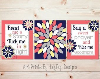 Girls room decor Quotes for girls Read me a story Baby girl prints Nursery decor girl Girl quotes Coral navy wall art Kids art prints #0884