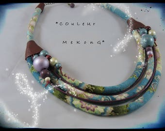 SOLD - necklace - color MEKONG - fabric multicolored predominantly teal, red leather - color wood beads