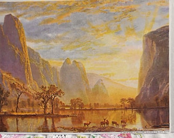 VALLEY of the YOSEMITE Litho Print Elk Herd at Dawn at Water's Edge Trees Mountains Sweeping Western Scene Vintage Beirstadt 8 x 10 to Frame