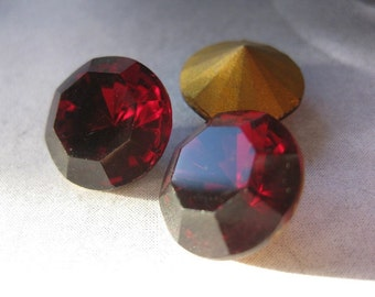 2 PC Vintage Deep Ruby Red Faceted Glass - Foil Backed Stone - 60 SS / 14mm