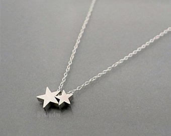 Silver star necklace, dainty small charm necklace, mother's day gift, Family jewelry, 1 2 3 babies, mama star kid stars, love mom, B9studio