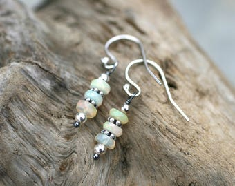 Ethiopian Opal Gemstone Stacked Earrings, Sterling Silver Earrings, Welo Opal Earrings, October Birthstone, Minimalist Opal Earrings