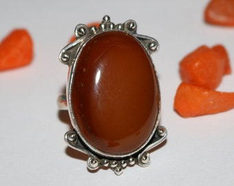 Natural Honey Onyx with 92.5 % Sterling Silver Ring , Beautiful Onyx Ring , Silver Ring , Semi Precious Gemstone  Ring
