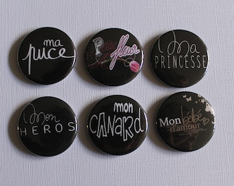 "BADGES ""Nickname"", handmade, (flat back) scrapbooking embellishment, brooch (PIN back), magnet (magnetic back)"