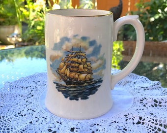 Sadler Beer Stein Made in England - Bucklers Hard - Galleon at Sea Transfer Print and Gilt Rim - Large China Mug