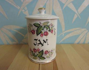 """circa. 1960s Arthur Wood 4706 lidded china """"JAM"""" pot"""