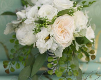 Garden wedding bouquet Roses, peonies, lissianthus, eucalyptus, dusty miller and fern  Vintage inspired garden bouquet shabby chic & rustic