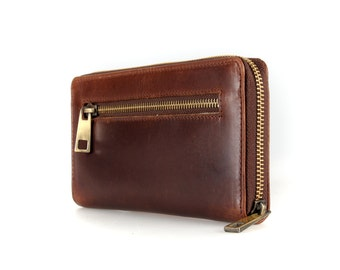 Ladies Leather Ziparound Wallet, Leather Purse, Brown