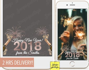 New Year's Eve filters, Rose gold new year's eve filters, 2018 filters, fireworks filters, champagne filters, rose gold glitter filters, 53