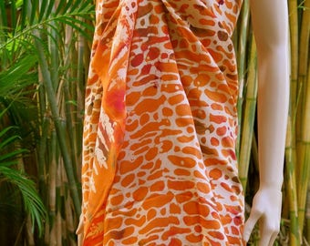 Orange cover up, Beach Sarong, Pareo, Wrap
