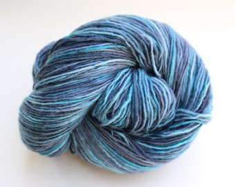 To Dye For- Single Ply One-of-a-Kind Superwash Merino Hand-Painted Sock Yarn, Teal and Steel Hand-Dyed Yarn, Knitting Supplies, Sock Yarn