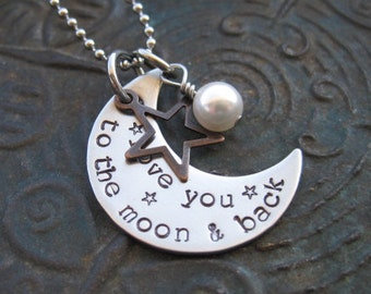 Stamped Jewelry - love you to the moon - Mommy Necklace - Mothers Necklace - Personalized Jewelry