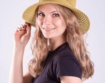 Summer crochet cloche hat woman Sun hat with brim Hand crochet summer cloche beach hat Lightweight cotton sun hat for ladies