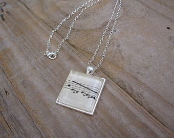 Musician Necklace - Vintage Music Book Notation Pendant - Gift for Musician