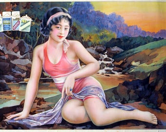 Vintage Cigarette Ad Poster Hand Drawing Asian Characters in 1928, Chinese Women, INSTANT DOWNLOAD, Vintage Oriental Art