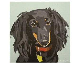 Long Haired Dachshund Dog Print