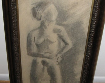 """ANTIQUE NUDE DRAWING-Charcoal in an Antique Frame 16"""" X 28 1/2"""""""